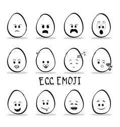 Set of egg emoji isolated on white background vector