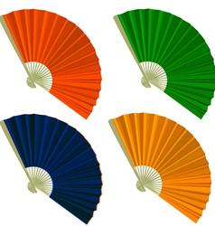 Set traditional folding fans vector