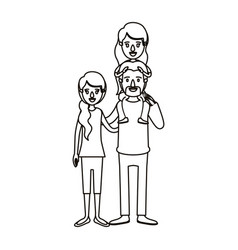 Silhouette caricature family with mother and vector