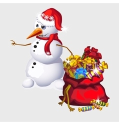 Snowman with a big red bag of candy and gifts vector