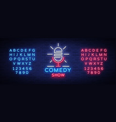 Stand up logo in neon style comedy show is neon vector