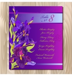 Table guest list background with purple iris vector
