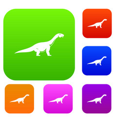 titanosaurus dinosaur set color collection vector image vector image