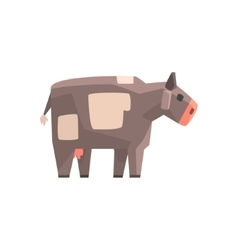Toy simple geometric farm grey cow browsing funny vector