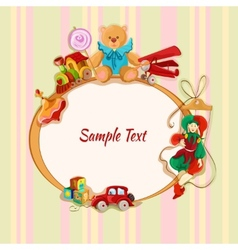 Toys colored drawn framed postcard vector image vector image