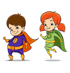 two happy super hero kid vector image vector image