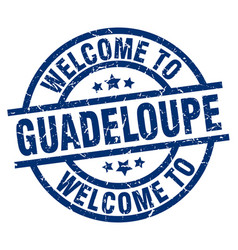 welcome to guadeloupe blue stamp vector image vector image