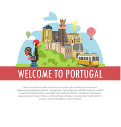 welcome to portugal travel poster of portuguese vector image vector image