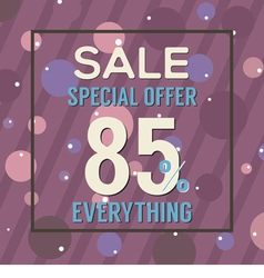 Special offer 85 percent on purple bubbles vector