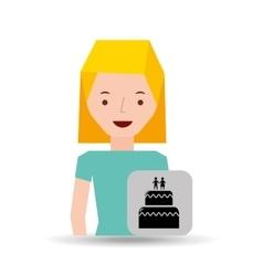 girl cartoon wedding cake dessert icon vector image