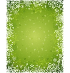 Green christmas background with frame of snowflake vector image