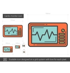 Cardio monitor line icon vector