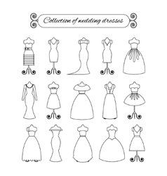 Collection of white thin line wedding dresses - vector