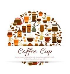 Coffee poster of espresso latte hot drinks cups vector