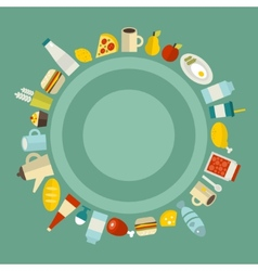 Round food frame vector