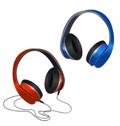 Red and blue headphones vector