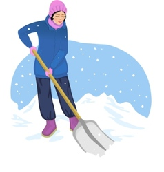 Young woman cleans the road from snow vector