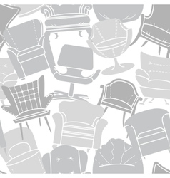 Seamless pattern of grey armchairs vector