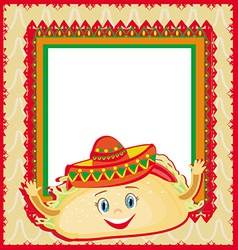 Funny tacos character mexican frame card vector