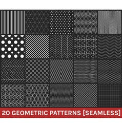 Set of 20 abstract geometric patterns black vector
