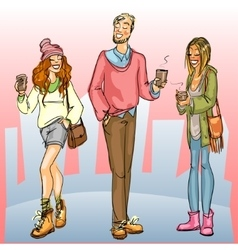 Young people with coffee on a street vector image