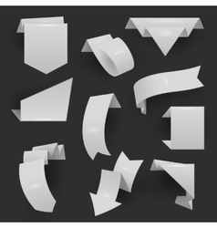 Origami material style website ribbons collection vector