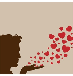 Man blowing heart vector