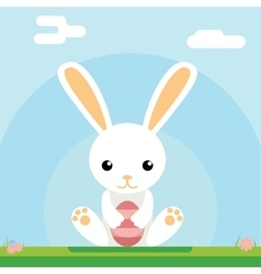 Easter bunny hold egg icon sky background template vector