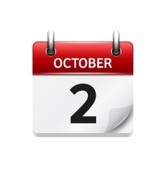 October 2  flat daily calendar icon date vector