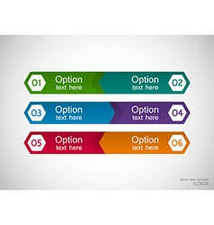 Six menu bars template with optional text vector image