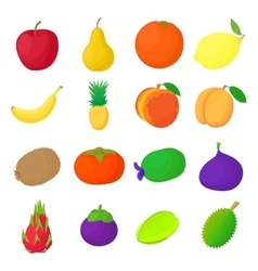 Fruit icons set cartoon style vector