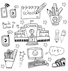 Doodle of school element and tools vector