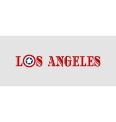 Los angeles city name with flag colors vector