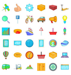 Acquisition icons set cartoon style vector