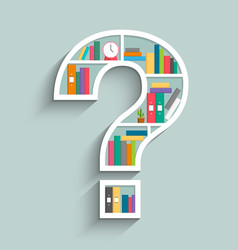 bookshelf in form of question mark with colorful vector image