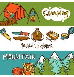 Camping banners horizontal vector