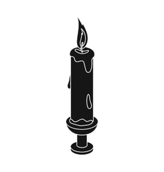 Candle icon in black style isolated on white vector image