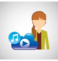 Cartoon girl tail hair music cloud app vector