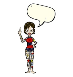 Cartoon woman covered in tattoos with speech vector