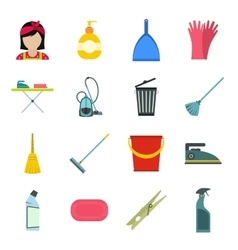 Cleaning flat icons vector