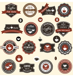 Coffee labels and elements in retro style vector
