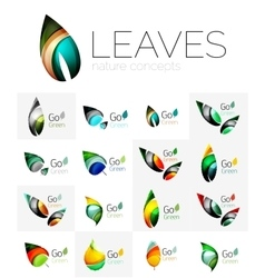 Colorful abstract geometric design leaves icon vector image vector image