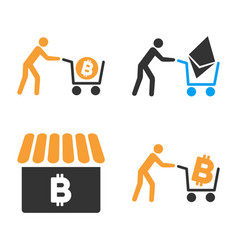 Cryptocurrency shopping icon set vector