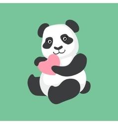 Cute panda character holding a heart vector