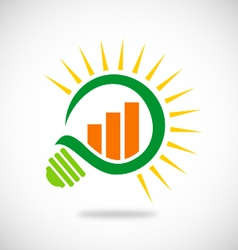 Green light bulb business finance logo vector