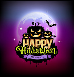 happy halloween pumpkin design on moon vector image vector image