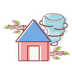 House with twister and wind leaves natural weather vector
