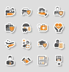 Insurance Icons Sticker Set vector image