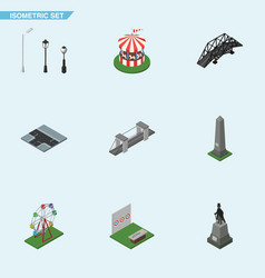 Isometric city set of sculpture crossroad aiming vector
