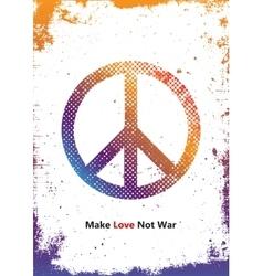 Make love not war - hippie style peace logo vector
